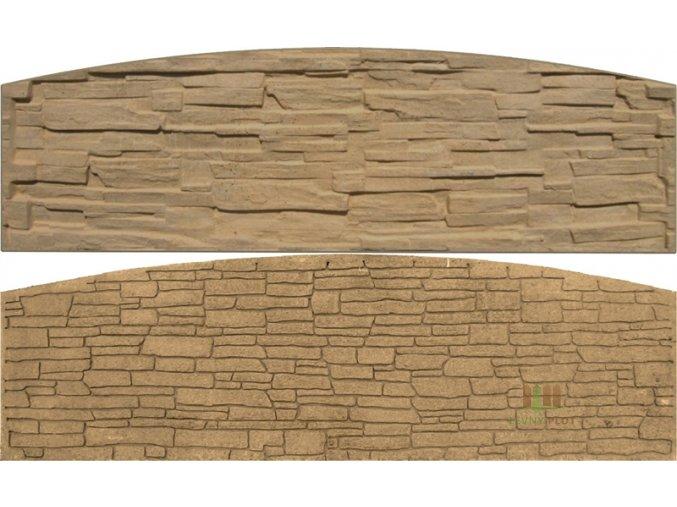 Betonový panel oblouk velký oboustranný štípaný kámen 200 x 50-66 x 4,5 cm - pískovec