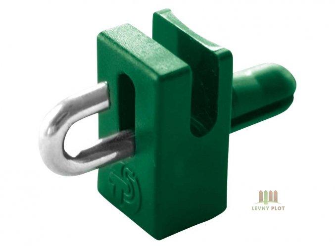 Držák napínacího drátu s háčkem,zelená
