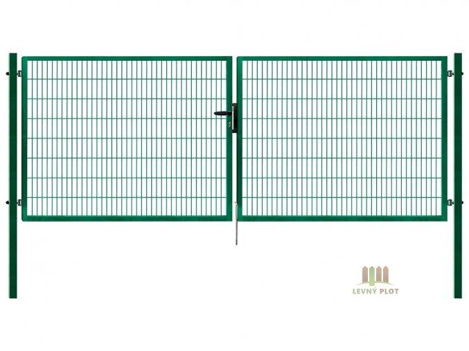 Dvoukřídlá brána Pilofor Super š. 4108 mm x v. dle výběru, se zámkem zelená RAL6005 (Výška v mm: 1580 mm)