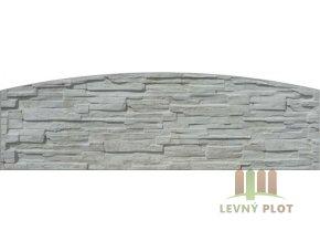 Betonový panel oblouk jednostranný 200x50-66x4,5 cm - štípaný kámen - přírodní