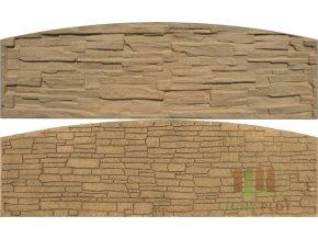 Betonový panel oblouk velký oboustranný štípaný kámen 200 x 50-66 x 4 cm - pískovec