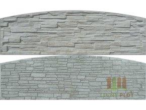 Betonový panel oblouk velký oboustranný štípaný kámen 200 x 50-66 x 4 cm - přírodní