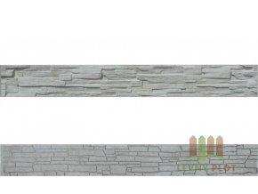 Betonový panel rovný  oboustranný štípaný kámen 200 x 25 x 4 cm - přírodní
