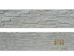 Betonový panel rovný oboustranný štípaný kámen 200 x 50 x 4 cm - přírodní