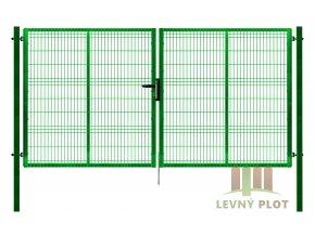 Ideal brána Pilofor š. 4108 x v. dle výběru, se zámkem, zelená RAL6005 (Výška v mm: 2045 mm)