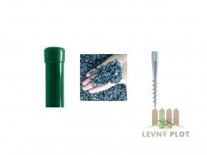 Plotový sloupek Zn+PVC s vrutem a štěrkem pro výšku pletiva 1800 mm