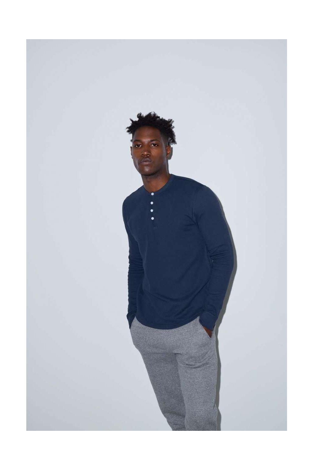 Unisex termo tričko s dlouhými rukávy a knoflíky American Apparel