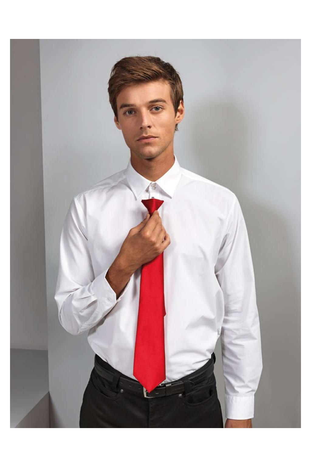 Saténová připínací kravata Colours
