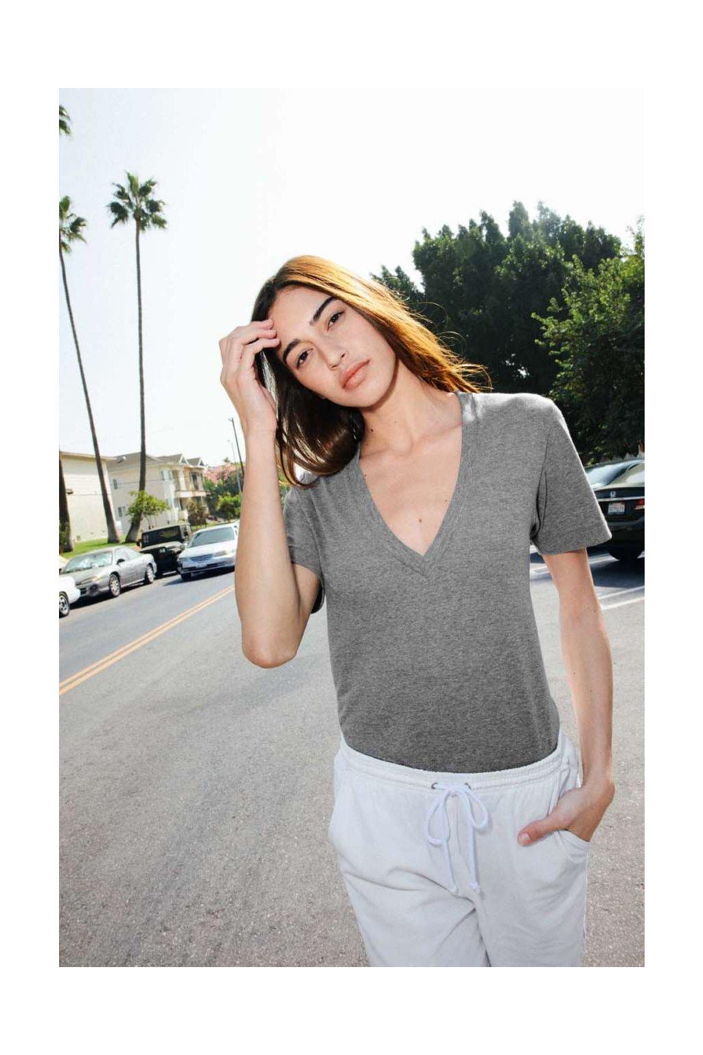 Unisex tričko s hlubokým výstřihem American Apparel