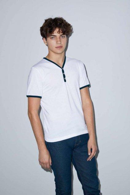 Unisex tričko s knoflíky American Apparel