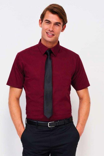 Pánská strečová bavlněná košile BROADWAY s krátkými rukávy