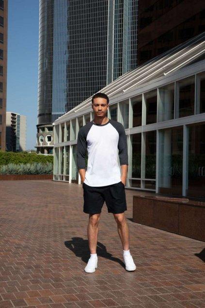 Unisex baseball tričko s 3/4 rukávy American Apparel