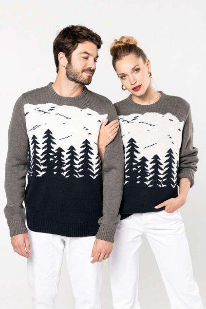 Pánský svetr se zimní krajinou Kariban