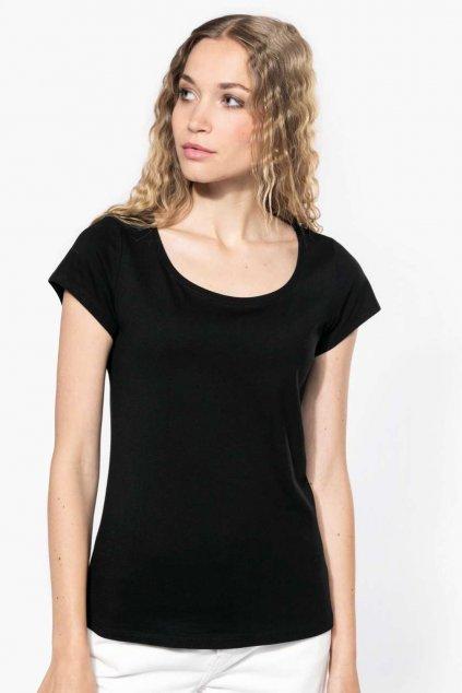 Dámské bavlněné tričko s hlubokým výstřihem KARIBAN
