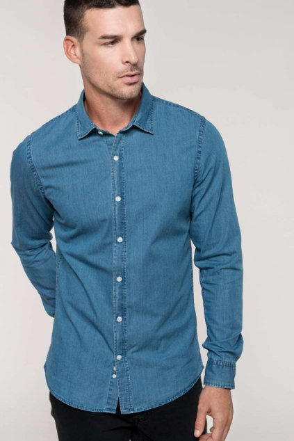 Pánská košile s efektem džínoviny CHAMBRAY