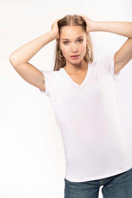 Dámské tričko s véčkovým výstřihem a podílem elastanu KARIBAN