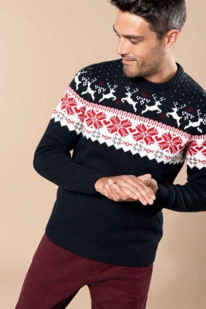 Pánský vánoční svetr se soby Kariban