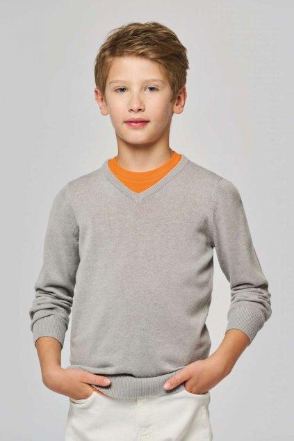 Dětský svetr V-výstřih KARIBAN