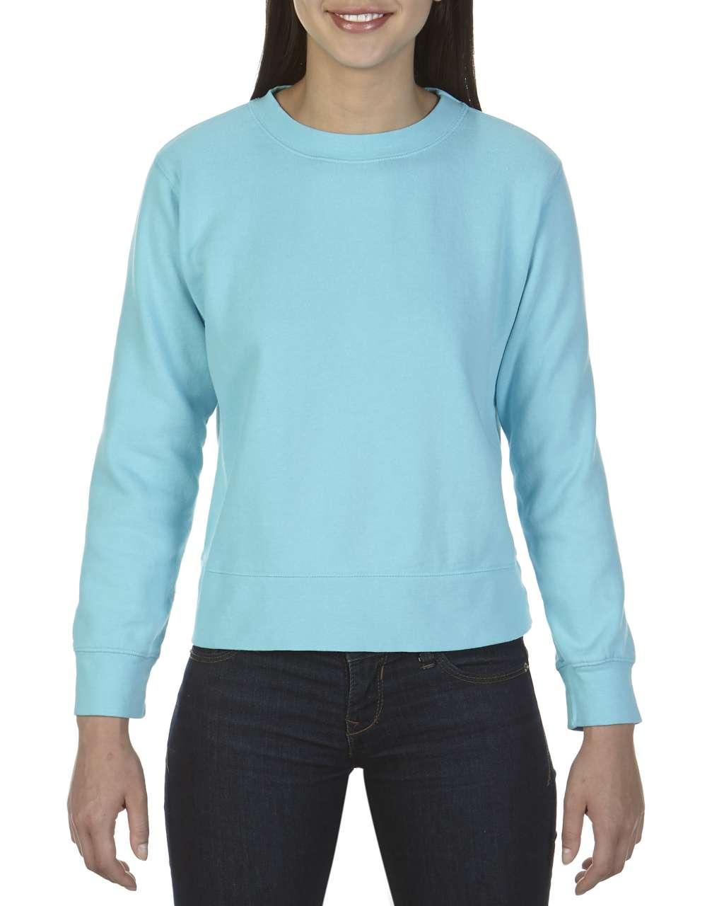 Levně Dámská mikina bez kapuce Comfort Colors – laguna modrá, vel. 2XL