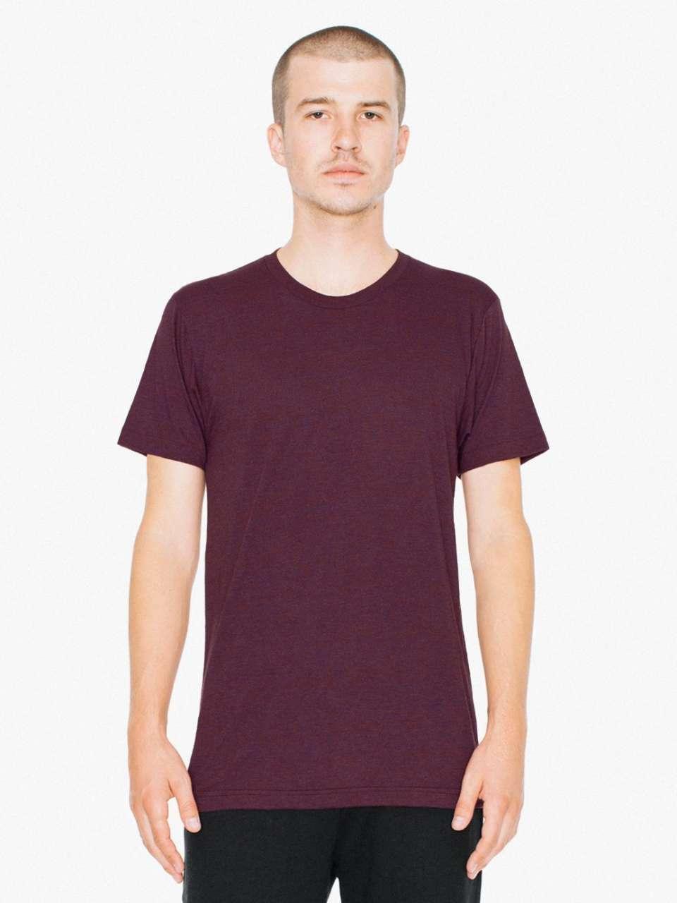 Levně Unisex tričko TRI-BLEND American Apparel – tri-brusinková, vel. S