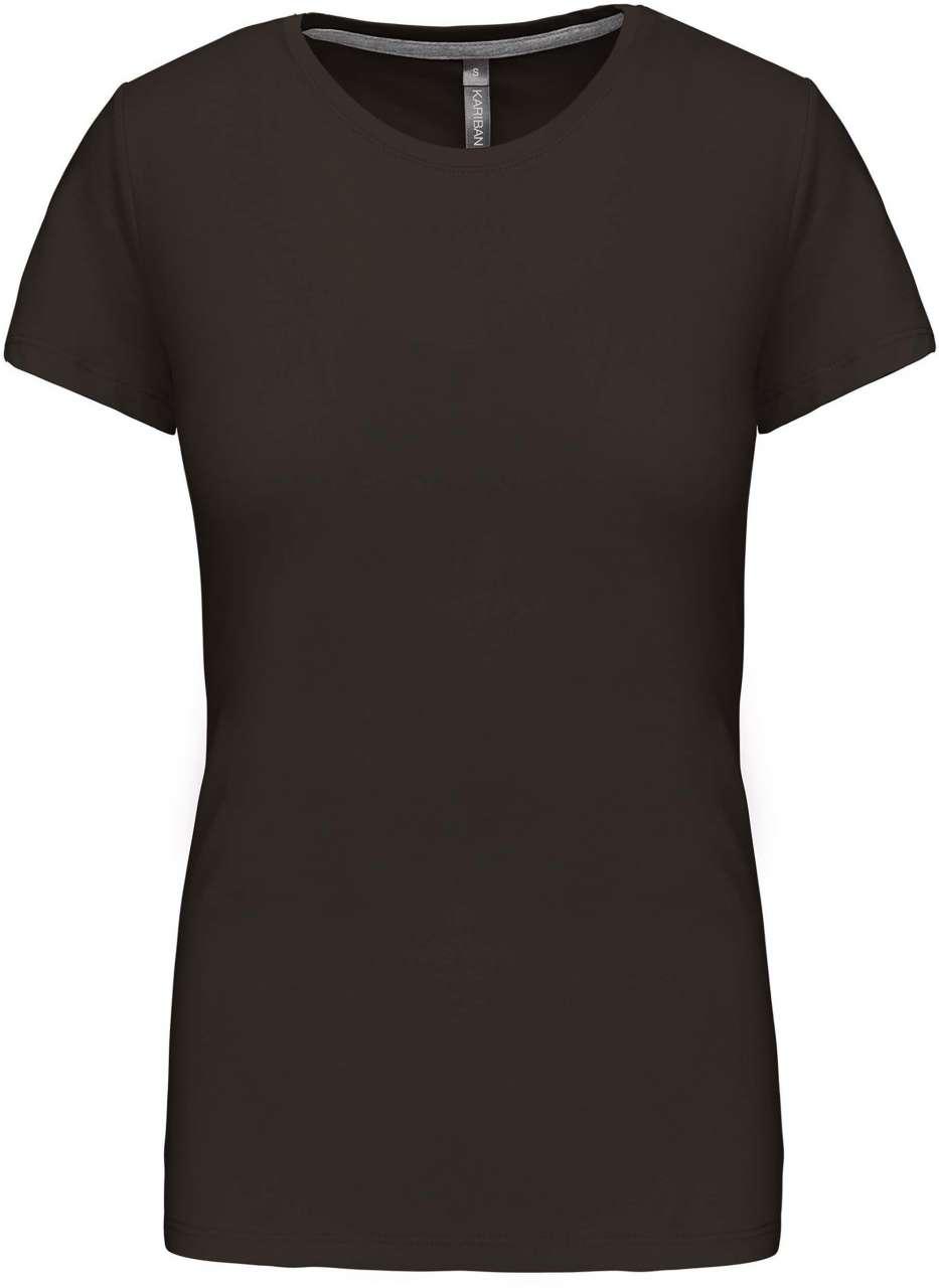 Levně Dámské tričko s krátkým rukávem KARIBAN – tmavě khaki, vel. 3XL