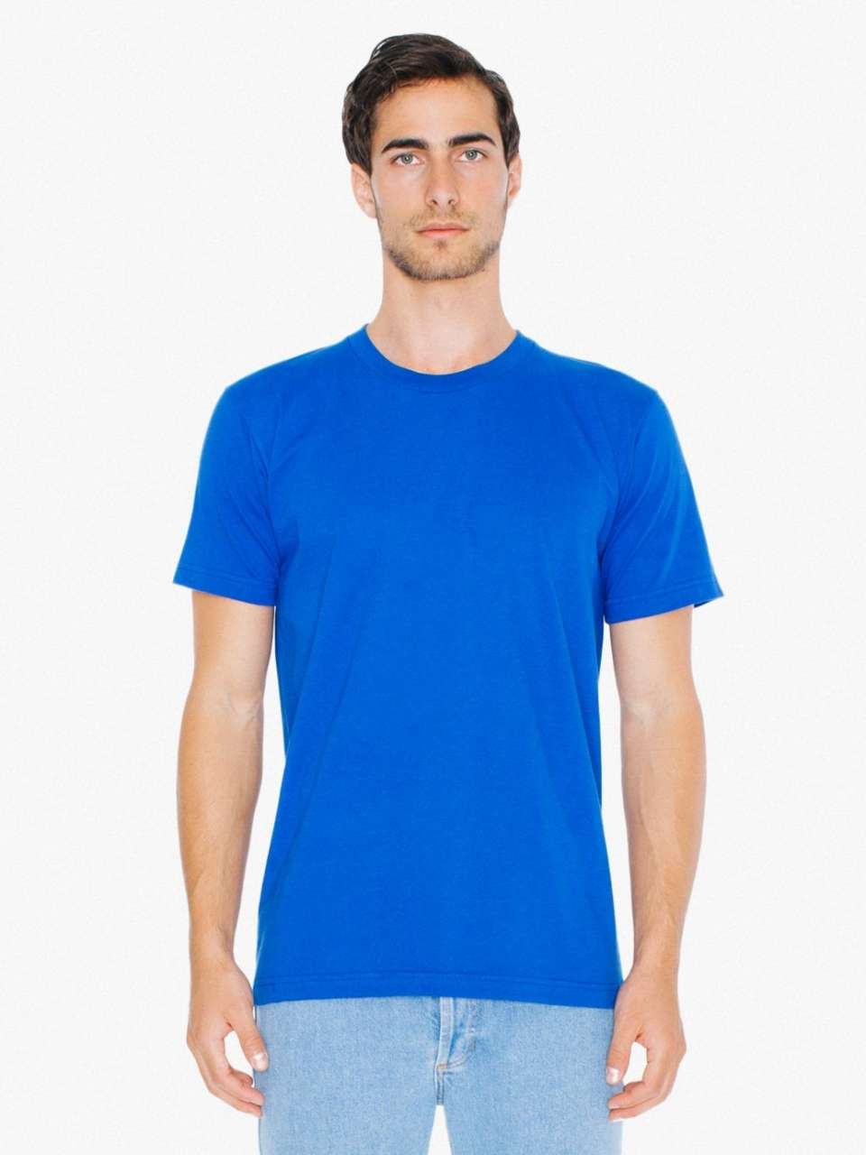 Levně American Apparel Unisex bavlněné tričko FINE JERSEY Barva: Lapis, Velikost: L