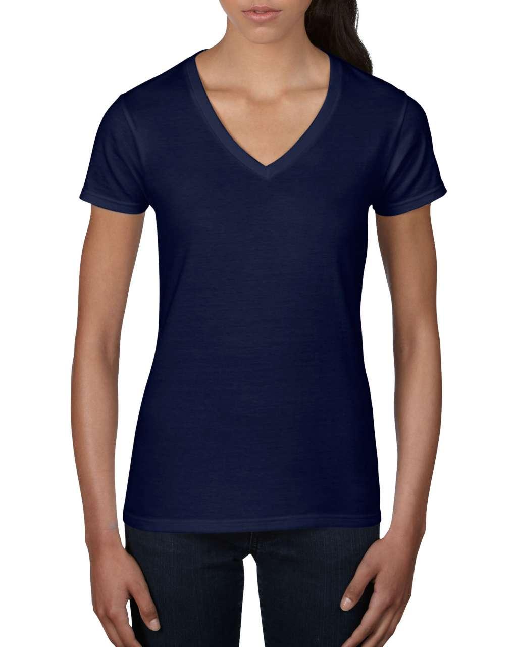 Levně Bavlněné tričko s V výstřihem Anvil Barva: Navy, Velikost: XL