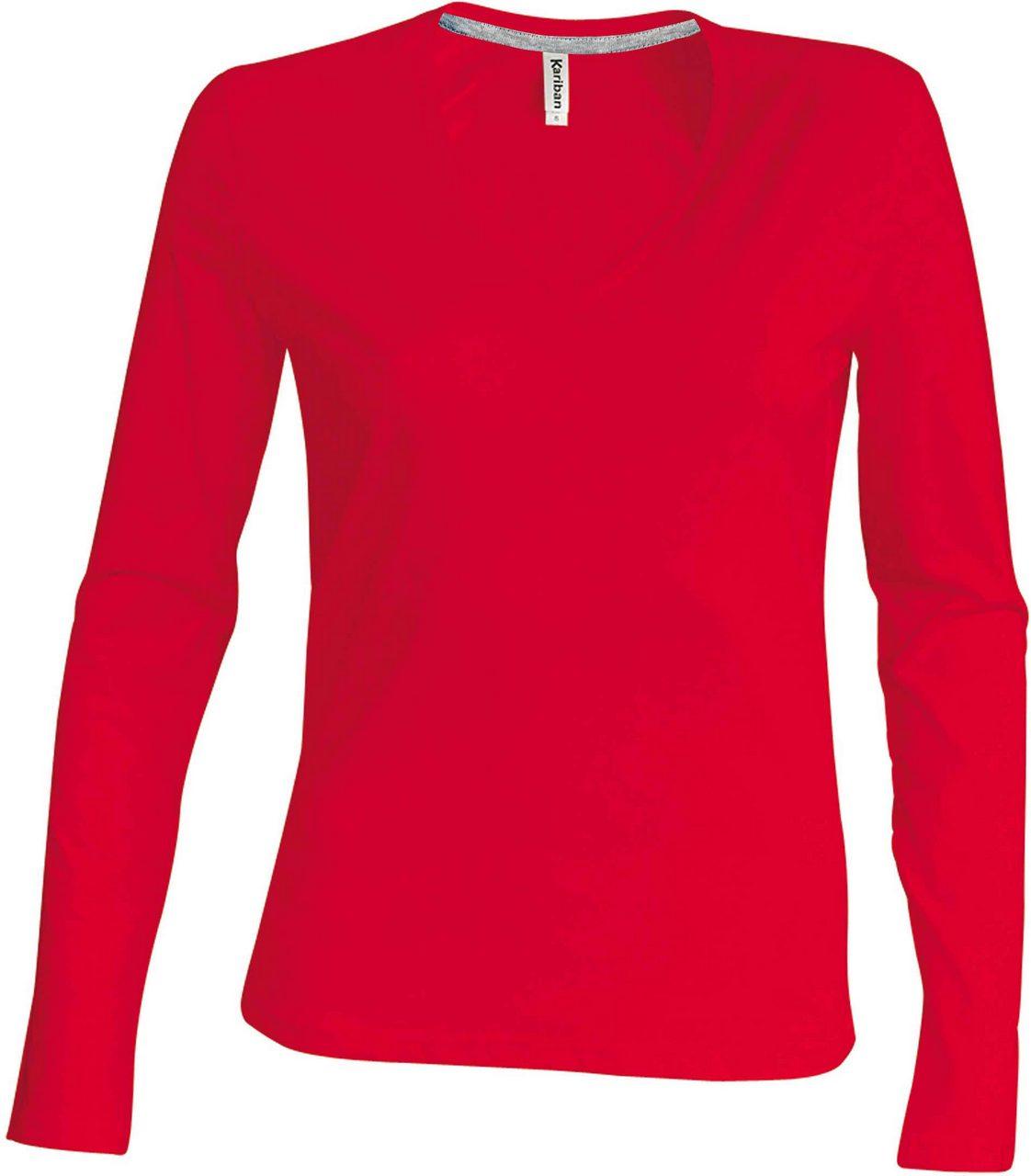 Levně Dámské tričko do V s dlouhým rukávem Kariban Barva: Red, Velikost: S