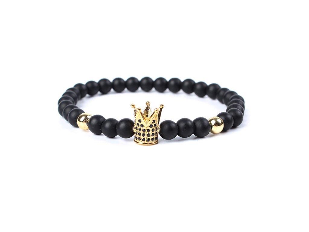 Náramek korálový Golden Crown černý
