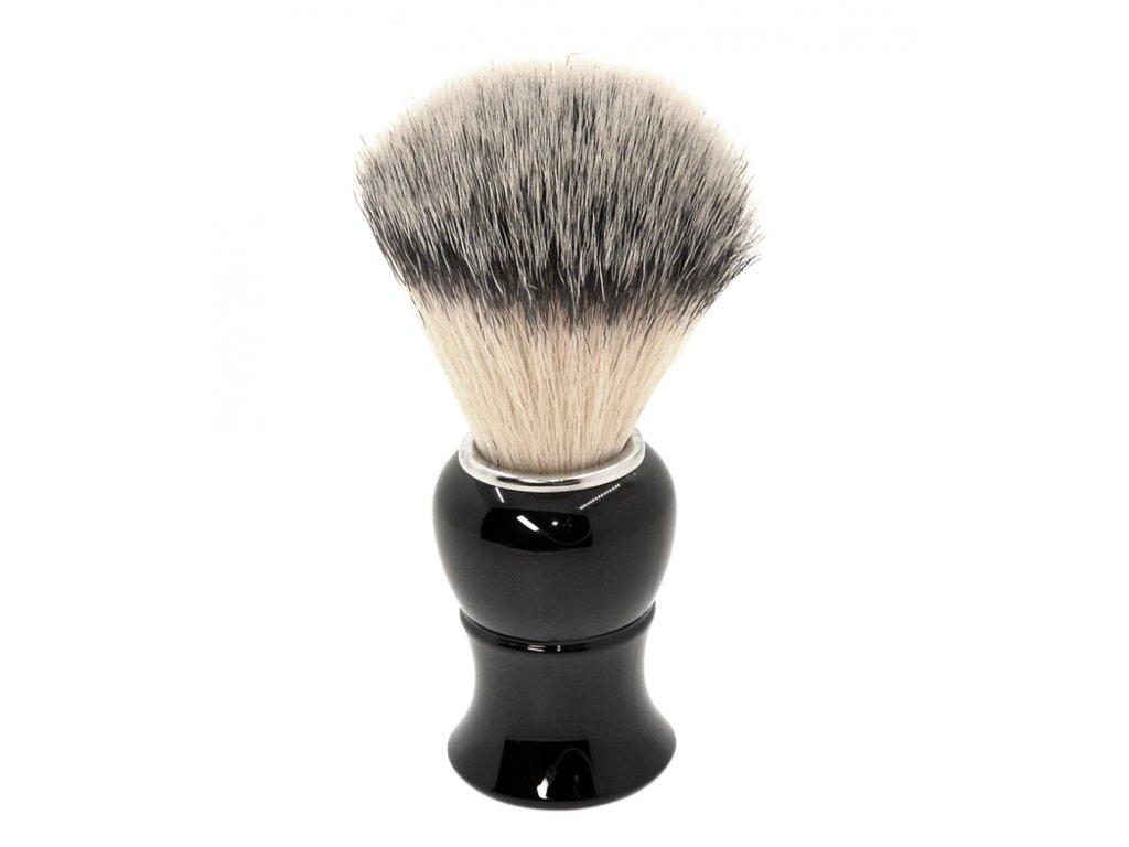 Štětka na holení z imitace silver tip štětin z černého odolného plastu