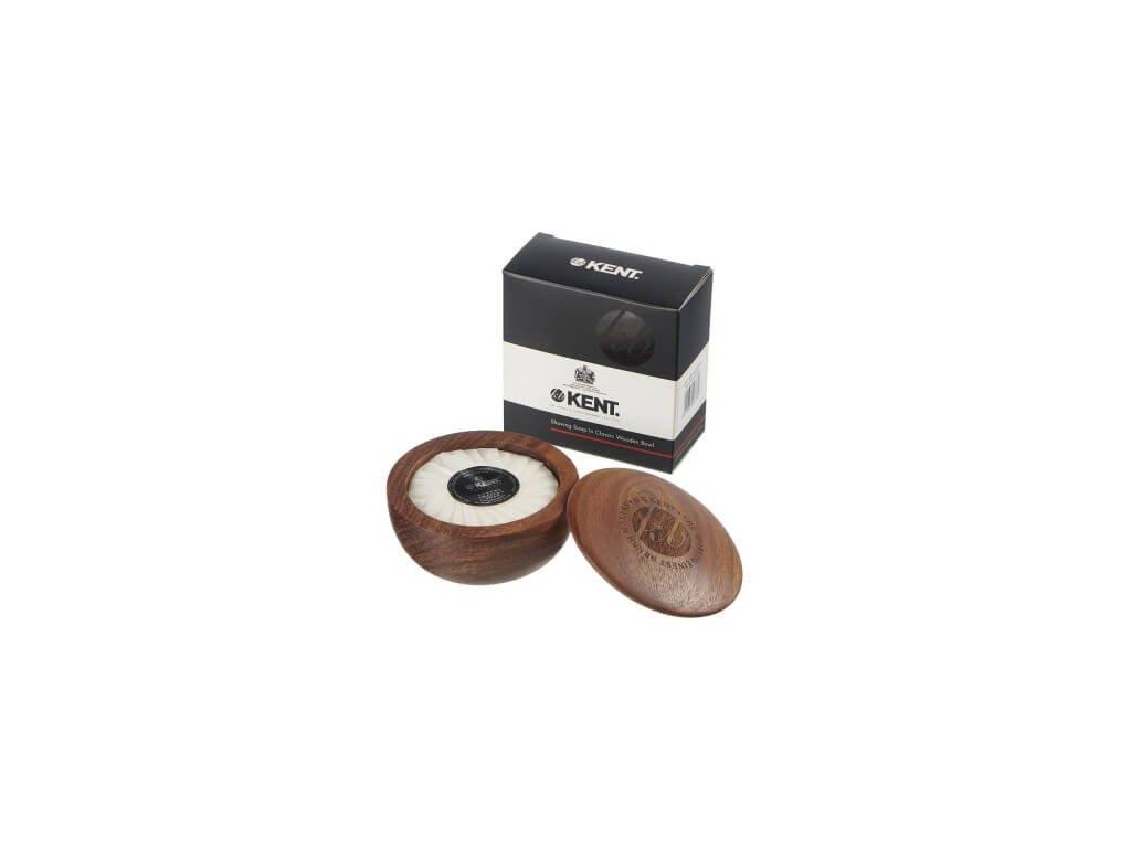 Kent mýdlo na holení s tmavou dřevěnou miskou 120 g