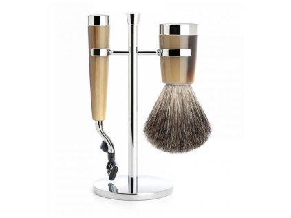 Mühle Liscio Horn Brown Pure Badger, sada na holení
