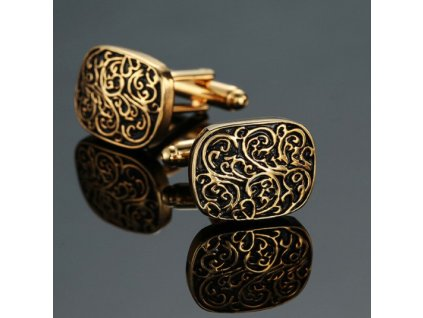 Manžetové knoflíčky se zlatým vzorem
