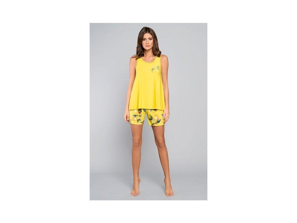 stylove bavlnene kratke pyzamo sirsie ramienka italian fashion lemon zlte