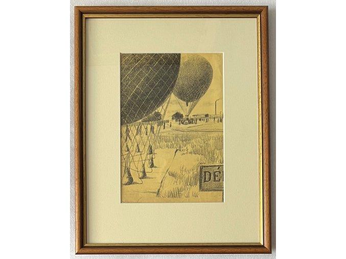 Kamil Lhoták - Balon, křídla, vrtule, 1948, litografie