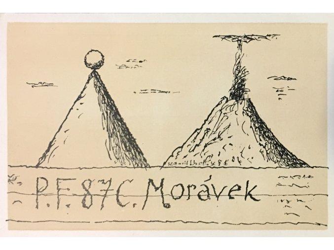 Kamil Lhoták - Sopka a jehlan s míčem na vrcholu, 1986, zinkografie