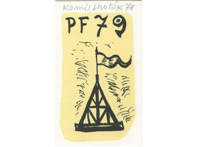 Kamil Lhoták - Jehlan s vlajkou, 1978, litografie