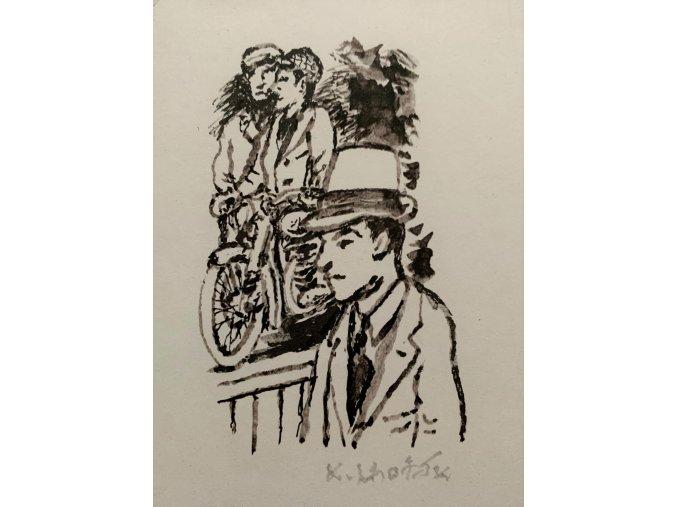Kamil Lhoták - Tři muži a motorka, 1989, serigrafie