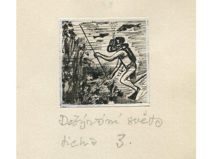 Kamil Lhoták - Dobývání světa ticha 3, 1961, tuš