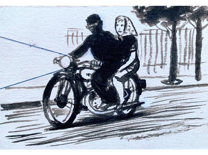 Kamil Lhoták - Na motocyklu, 1963, tuš