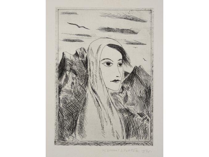 Kamil Lhoták - Žena v horách (Démon), 1971, lept
