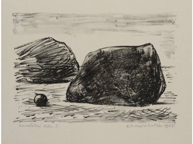 Kamil Lhoták - Dva balvany, 1968, litografie