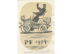 Kamil Lhoták - PF 1974 (Staré auto s řidičem), litografie