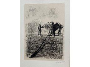Kamil Lhoták - Muž cvičící orla, 1965, litografie