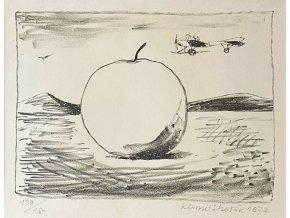 Kamil Lhoták - Reklamní jablko a letadlo, 1972, litografie