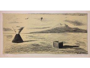 Kamil Lhoták - Stroj pouště v krajině, 1972, litografie