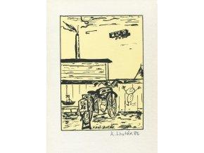 Kamil Lhoták - Motorka před ohradou, 1986, serigrafie