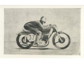 Kamil Lhoták - Motocyklový závodník, 1953, suchá jehla