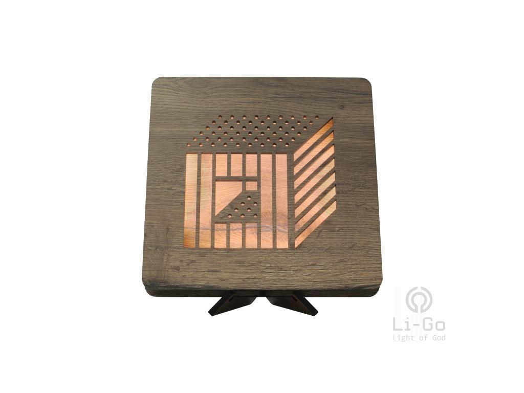 cube 3D 44 tbílá 1 stolní LED lampička 31x31cm