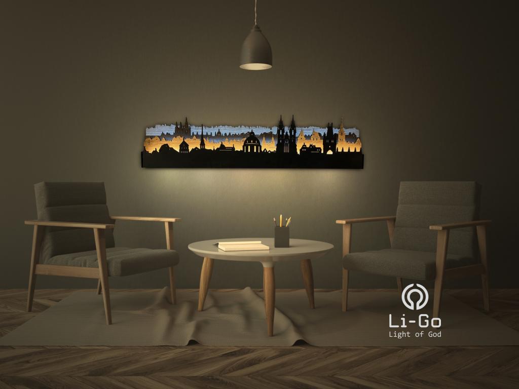 """""""Praha"""" světelný obraz 125x35cm"""
